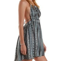 Black Combo Strappy Printed Halter Dress by Charlotte Russe
