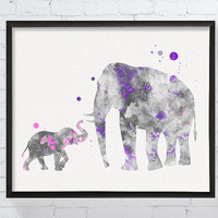 Mom and Baby Elephant, Baby Girl Nursery, Nursery Decor, Watercolor Elephant, Elephant Wall Decor, Elephant Art Print, Baby Girl Gift, Girls