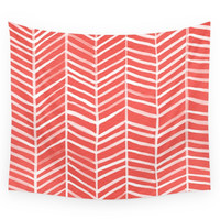 Society6 Coral Herringbone Wall Tapestry