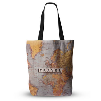"Sylvia Cook ""Travel Map"" World Everything Tote Bag"