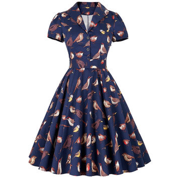 Sarafan Summer Dresses For Women 50s Retro Vintage Dress With Belt Print Vestidos Jurken Plus Size Pinup Rockabilly Women Dress
