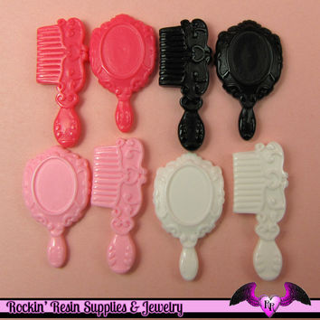 Hair Brush / Mirror Set Resin Decoden Kawaii Cabochon / Flatback Resin Cabochons (8 pieces)