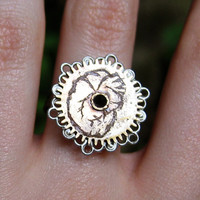 Steampunk Anatomical Heart Etched Clock Gear Ring