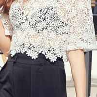 Lace Flowers T-Shirt from shoplayla