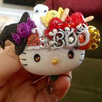 Trick or Treat Halloween Night Hello Kitty Id Badge Reel Holder