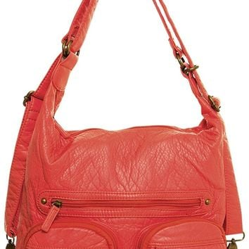 Vegan Leather Purse Convertible Backpack Style Handbag Salmon Pink