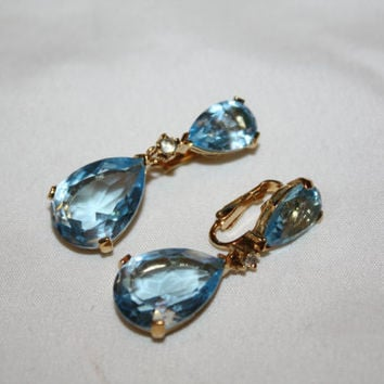Vintage Panetta Aqua Earrings Tear Drop Crystal 1970s Jewelry