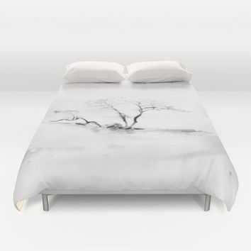 Scots Pine, Gray Duvet Cover by Gréta Thórsdóttir  #gotland #BalticSea #waterfront #black #white #tree #mist #bedroom