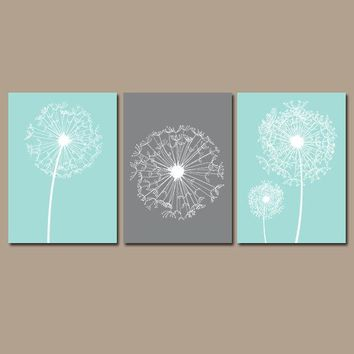 DANDELION Wall Art, CANVAS or Prints, Aqua Gray Bedroom, Custom Colors, Dandelion Nursery, Aqua Gray Bathroom, Dorm Home Decor Set of 3