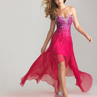 Fuchsia Beaded Chiffon Strapless Hi-Lo Prom Dress - Unique Vintage - Cocktail, Pinup, Holiday & Prom Dresses.