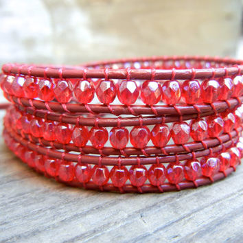 Beaded Leather Wrap Bracelet 3 Wrap with Ruby by BraceletsByBetz