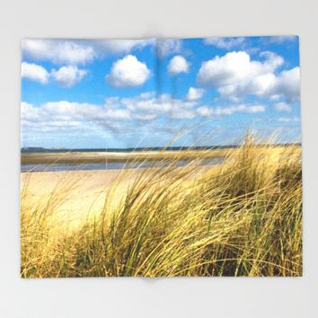 Beach whispers Throw Blanket by Tanja Riedel