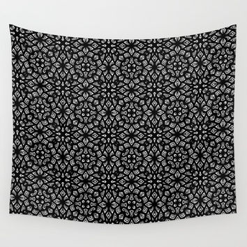 Black and White Mandala Pattern Wall Tapestry by Elizabeth Schulz