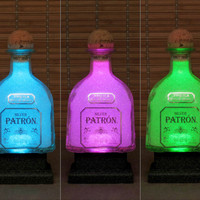 Patron Silver Tequila Remote Controlled 16 Color Changing LED Bottle Lamp  Bar Light -Bodacious Bottles-