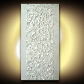 ORIGINAL Large Abstract Acrylic Painting Wall Art jewel tones Vertical Canvas White Pearl Metallic Modern by Susanna