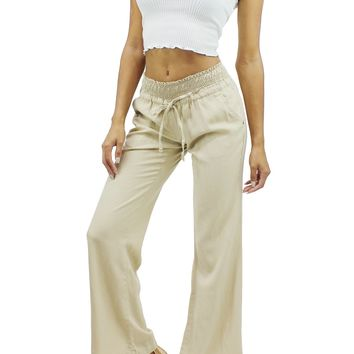 Linen Elastic Waist Band Drawstring 4 Pockets Wide Straight Leg Pants