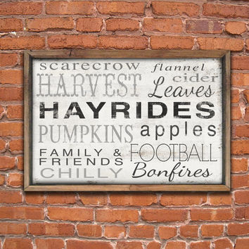 Wooden fall typography sign framed out in reclaimed wood.  Handmade.  Approx. 19.5x14x2 inches.