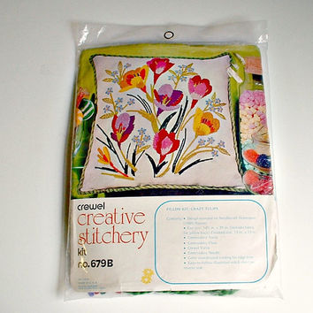 Crewel Pillow Kit Vintage Crazy Tulips Creative Stitchery  Kit No. 679B Pillow Kit  Kugel Vogart Made In USA Do It Yourself