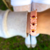 Deep red Swarovski and peach pink Bracelet, our infinity red love bracelet