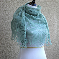Knit shawl in moss green color, lace scarf, knitted wrap gift for her