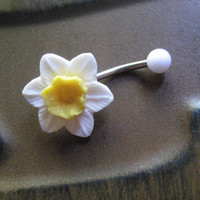 Daffodil Belly Button Jewelry Ring- White Yellow Flower Rose Floral Navel Stud Piercing Narcissus Lilly Flower Bar Barbell