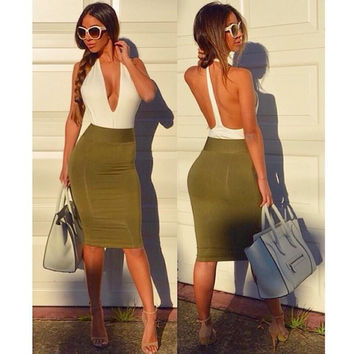 Fashion Multicolor Sleeveless Deep V Backless Tight Pack-hip Mini Dress