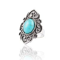 Fashion Wedding Retro Flower Nation Bohemian style Turquoise Resizable Ring jewelry for women = 1928429764