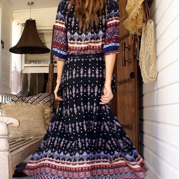 A| Women's Bohemian V Neck Half Sleeve High Slit Maxi Dress