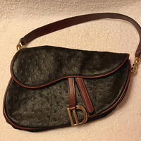Vtg Ostrich Leather Saddle Bag / Christian Dior Inspired Handbag / Asymmetrical Brown Leather Red Trim and Gold Tone Chunky Hardware Purse