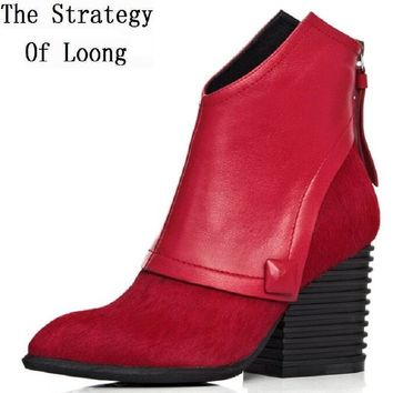 Women Spring Autumn Winter Thick High Heel Genuine Leather Horse Hair Pointed Toe Back Zipper Fashion Ankle Boots Plus Size 41