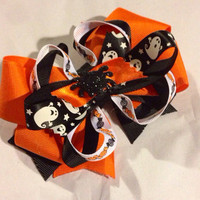 Halloween Bow - Stacked bow -pink and black bow - hair clip - over the top