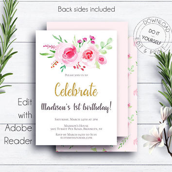 Gold Floral Invitation 1st Birthday, Roses and Peonies, Birthday Party, Girl Birthday Invite, Printable Invite, Editable Invitation