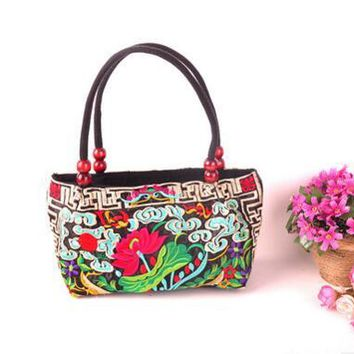New Price-promotion National embroidered bags Handmade embroidery cloth vintage canvas women handbag small shoulder bag