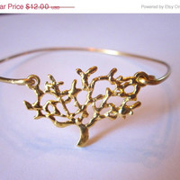 10% OFF SALE Gold Tree Bangle Bracelet Gold Charm - Stackable Bangle Charm Bracelet - Bridesmaid Gift - Gift under 15