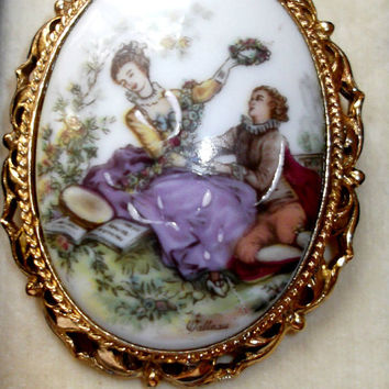 Genuine Limoges France Cameo Brooch Porcelain 22K GP Hand Painted Meadow Picnic  Pendant Pin