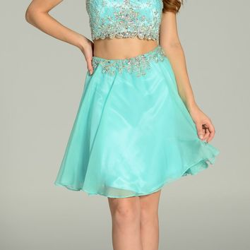 ON SPECIAL LIMITED STOCK - Two Piece Chiffon/Mesh Homecoming Dress Mint Short Sleeveless