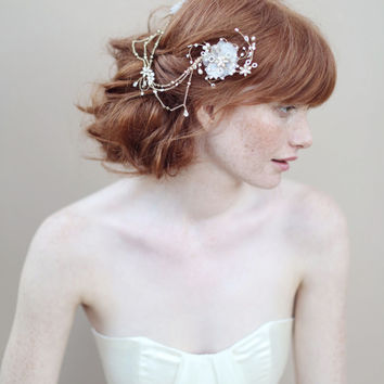 Bridal hair flowers, silk flowers - Double flower headpiece with chain swags - Style 343 - Ready to Ship