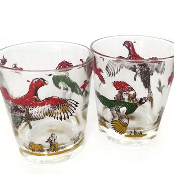 Vintage Game Bird Glasses-Old Fashion Glasses-Retro Barware-Pheasant Glasses-Set of 2-Mid Century-Man Cave-Mad Men-Cocktail Glasses