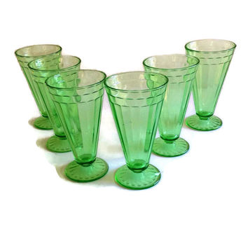Vintage Depression Glass-Drinking Glasses-Green-Cone Shape-Vertical Paneled-Set of 6-Vintage Kitchen-Iced Tea-
