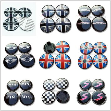 4 pcs 52mm 54mm colorful England Flag MINI WORKS S Car Wheel Center Hub Cap Badge wheel Dust-proof covers logo 3D Stickers Decal