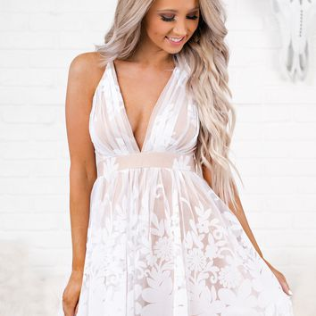 Own The Night Tulle Dress (White/Nude)