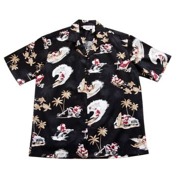 Santa Surf Black Cotton Aloha Hawaiian Print Shirt