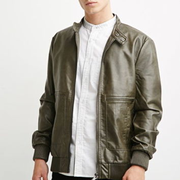 Faux Leather Snap-Collar Jacket