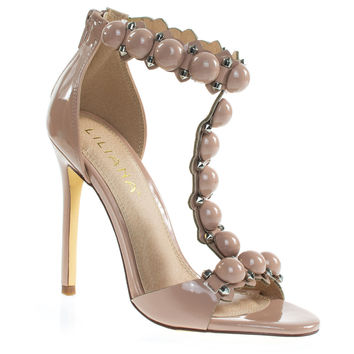Tisha6A Nude By Liliana Metal Bolt & Half Orb Button, Open Toe T-Strap High Heel Stiletto Sandal