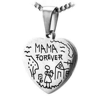 Stainless Steel Heart Pendant w/ Childs Sketch Design