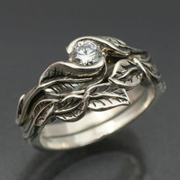WEDDING RING SET -Delicate Leaf Engagement ring with matching Wedding Band.  This set in sterling silver