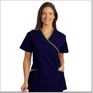 Fashion Seal Women's Fashion Poplin Cross-Over Tunic with Contrasting Trim - Cobalt, Green Apple