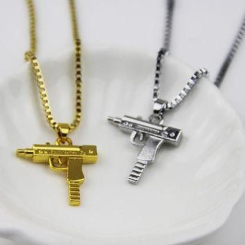 ZRM 2017 Fashion Jewelry Hip Hop Dance Charm Gun SUPREME Necklace Star Jewelry Men Fra