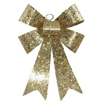 MDIGMS9 7' Gold Sequin and Glitter Bow Christmas Ornament