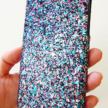 "For Apple iPhone 6 6s 4.7"" Multi-Color Specks Sequin Cluster Cell Phone Bling Hard Case Cover"